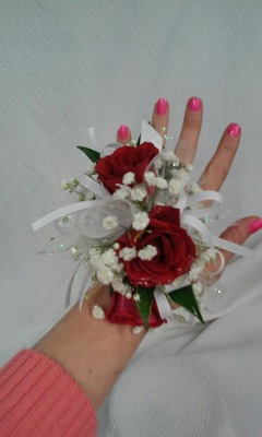 Red Rose wrist corsage from Aletha's Florist in Marietta, OH