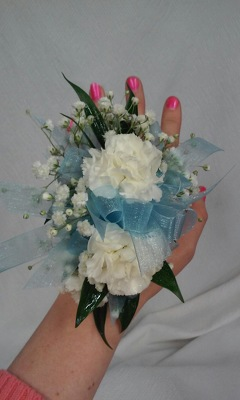 Wrist Corsage with mini carnations from Aletha's Florist in Marietta, OH